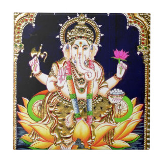 LOTUS GANESHA TANJORE PAINTING SMALL SQUARE TILE