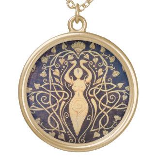 Lotus Goddess Pendant - Large Gold