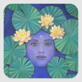 Lotus Goddess Square Sticker
