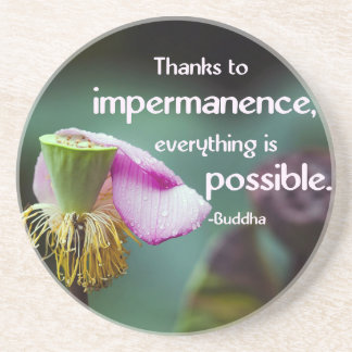 Lotus/Impermanence-Buddha's Teaching Quote Drink Coasters