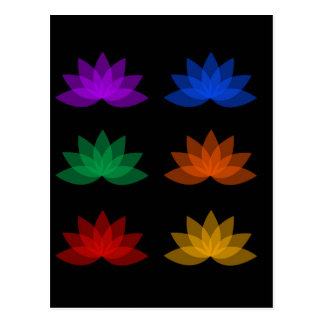 Lotus in different colors postcard