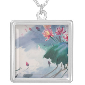 Lotus in the Pond Silver Plated Necklace