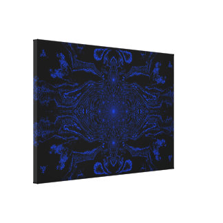 Lotus Mandala in Black and Blue Pastels C1 SDL Gallery Wrap Canvas