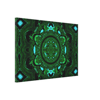 Lotus Mandala in Green Blue and Black PastelsC1SDL Canvas Print