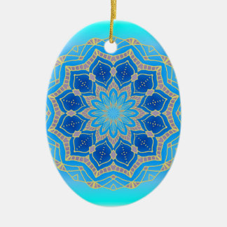 Lotus mandala in turquoise and blue christmas ornament