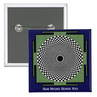 Lotus mandala Nam Myoho Renge Kyo 15 Cm Square Badge