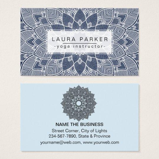 Lotus Mandala Yoga Instructor Blue White Fitness Business