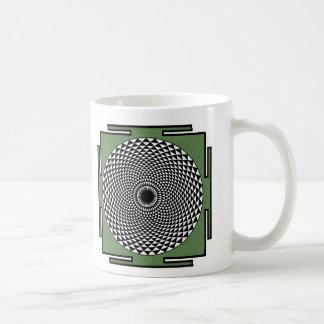 Lotus meditation dharma wheel classic white coffee mug