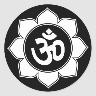 Lotus Om Design Classic Round Sticker