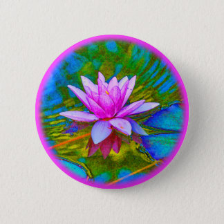 Lotus or Waterlily Elegant Flower Yoga 6 Cm Round Badge
