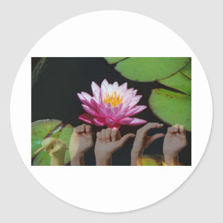 Lotus + Peace ASL Classic Round Sticker