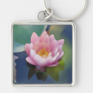Lotus Pink Flower with Reflection Wrapped Canvas Key Ring