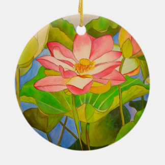 Lotus pink waterlily watercolor art painting round ceramic decoration