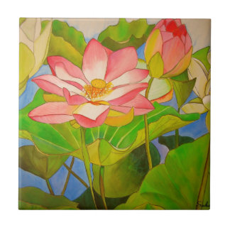 Lotus pink waterlily watercolor art painting small square tile