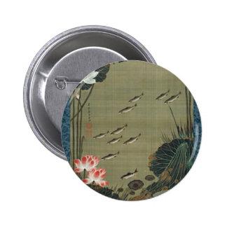 Lotus Pond and Fish by Ito Jakuchu 6 Cm Round Badge