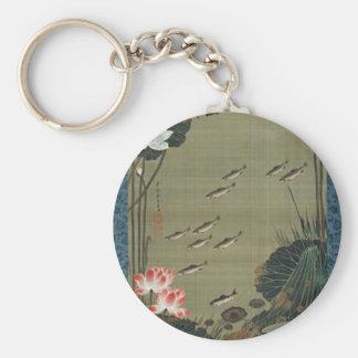Lotus Pond and Fish by Ito Jakuchu Basic Round Button Key Ring
