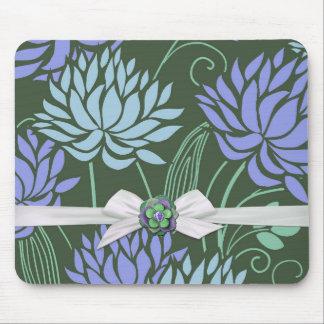 Lotus Pond Blue Damask Ribbon Mousepad Mousepads