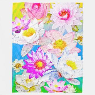 Lotus pond Fleece Blanket, Large