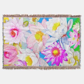 Lotus pond Throw Blanket
