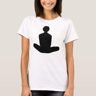 Lotus position  in black graphic T-Shirt