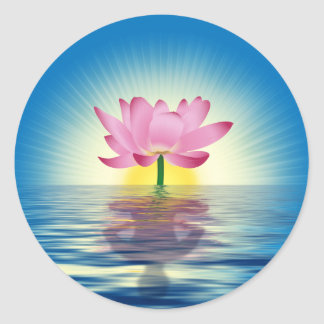 Lotus Reflection Classic Round Sticker