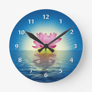 Lotus Reflection digital illustration Round Clock