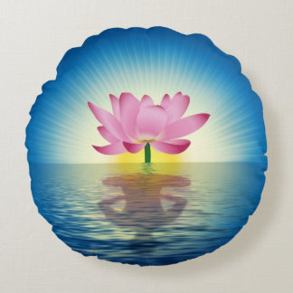 Lotus Reflection Round Cushion