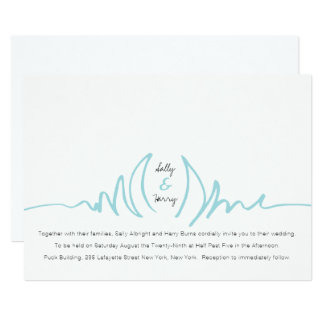 Lotus Scribble Minimalist Wedding Invitation