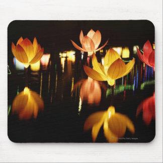 Lotus shaped lanterns for mid autumn festival mouse mat