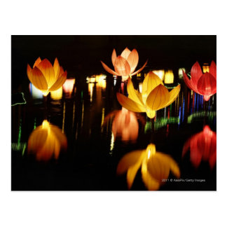 Lotus shaped lanterns for mid autumn festival postcard