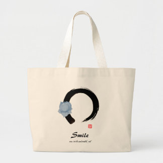lotus smile on enso large tote bag