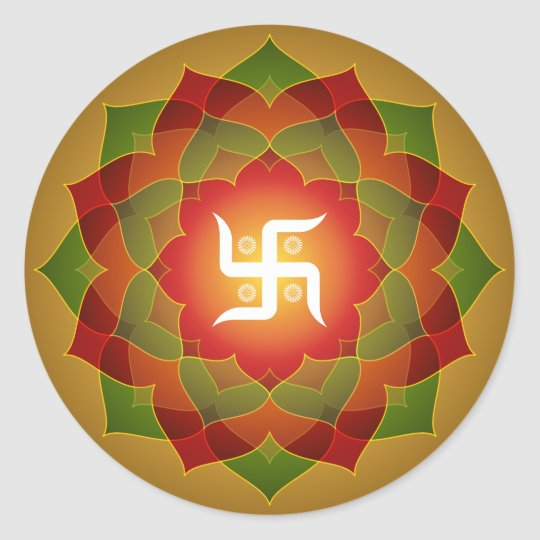 Lotus Swastika Design Classic Round Sticker