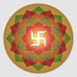 Lotus Swastika Design Round Sticker