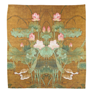 Lotus Waterlily Flowers Geese Birds Bandana