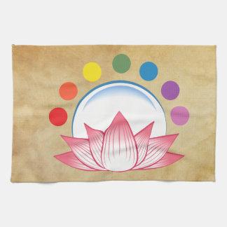 Lotus with chakra tea towel