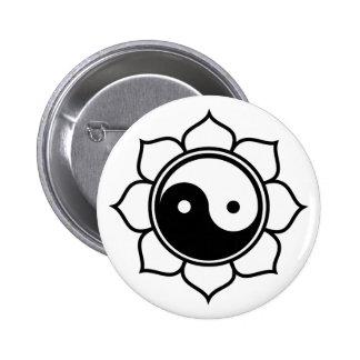 Lotus Yin Yang 6 Cm Round Badge