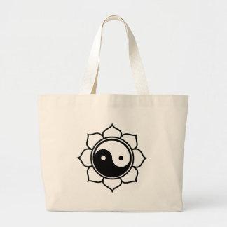 Lotus Yin Yang Large Tote Bag