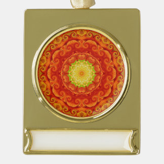 Lotus Yoga and meditation Eastern Inspired Art Gold Plated Banner Ornament