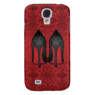 LOUBOUTIN red damask background Samsung Galaxy S4 Case