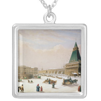 Loubyanska Square in Moscow Silver Plated Necklace