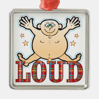 Loud Fat Man Silver-Colored Square Decoration