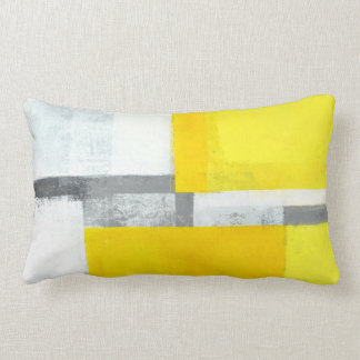 'Loud' Grey and Yellow Abstract Art Lumbar Cushion