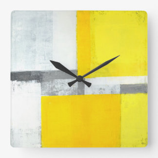 'Loud' Grey and Yellow Abstract Art Square Wall Clock