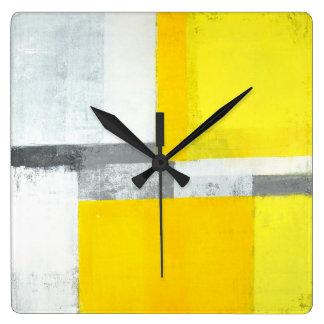 'Loud' Grey and Yellow Abstract Art Wall Clock