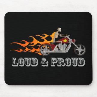 Loud & Proud: Skeleton Biker & Flames: Mousepad