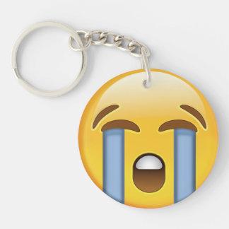 Loudly Crying Face Emoji Key Ring