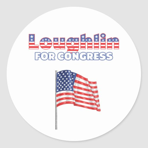 Loughlin for Congress Patriotic American Flag Stickers
