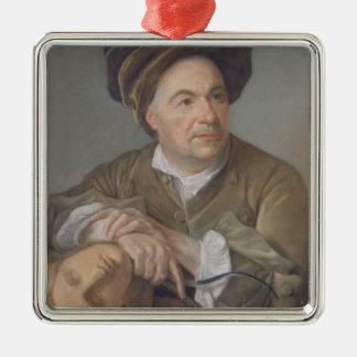 Louis Francois Roubiliac (1702-62) (pastel on pape Silver-Colored Square Decoration