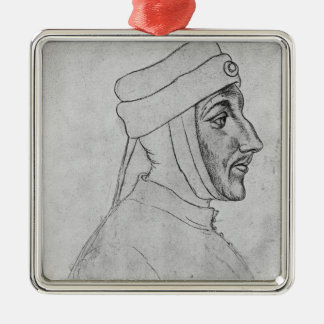 Louis II of Flanders Silver-Colored Square Decoration