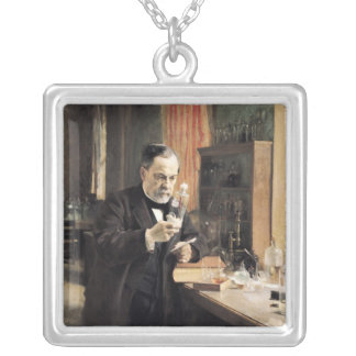 Louis Pasteur  in his Laboratory, 1885 Silver Plated Necklace